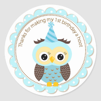 Boys 1st Birthday Blue Owl Thank You Classic Round Sticker