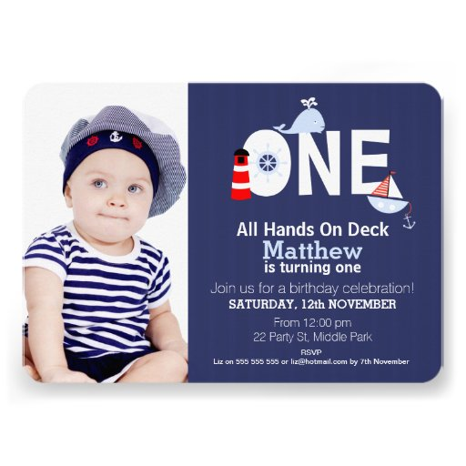 Personalized Nautical 1st birthday Invitations ...