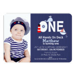 Boys 1st Birthday Nautical Invitation 11 Cm X 16 Cm Invitation Card