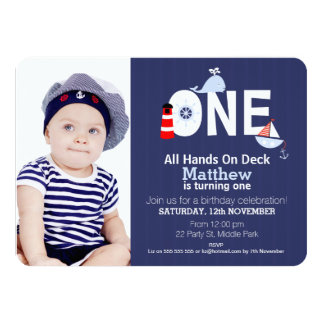 Boys 1st Birthday Nautical Invitation