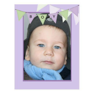 Boy's 1st Birthday Party Banner Photo Invitation Post Cards