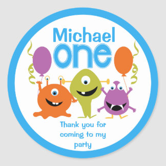 Boys 1st Birthday Party Monsters Sticker