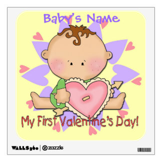 Boy's 1st Valentine's Day Square Wall Decal