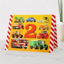 Boys 2nd Birthday Custom Construction Trucks Card