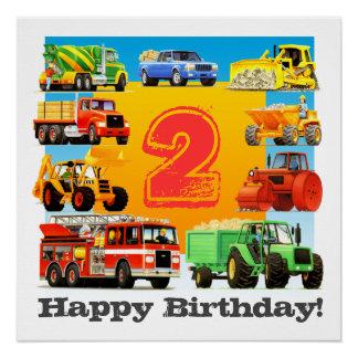 Boy's 2nd Happy Birthday Custom Construction Truck Poster