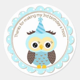 Boys 3rd Birthday Blue Owl Thank You Classic Round Sticker