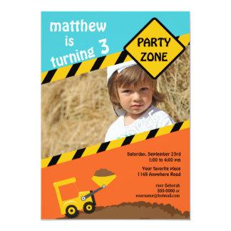Boys 3rd Birthday Construction Photo Invitation