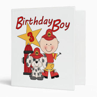 Boys 3rd Birthday Fireman Birthday Binder