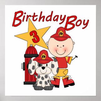 Boys 3rd Birthday Fireman Birthday Poster
