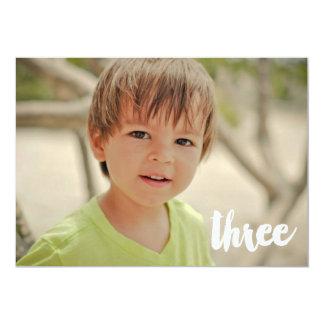 Boys 3rd Birthday Number Three Photo Overlay Card