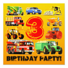 Boy's 3rd Birthday Party Custom Construction Truck Card