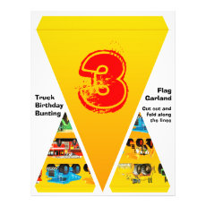 Boys 3rd Birthday Truck Party Flag Garland Bunting Flyer