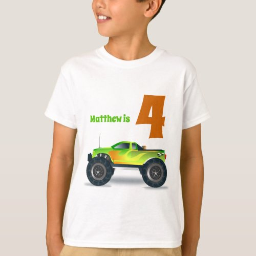 Boys 4th Birthday MONSTER TRUCK Add Name T_Shirt