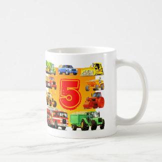 Boys 5th Birthday Construction Truck Coffee Mug