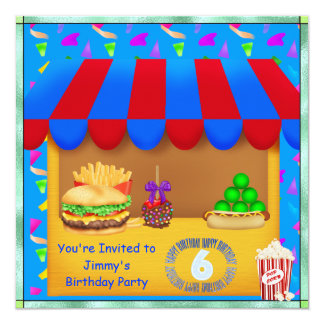 Boys 6th Colorful Birthday Party Invitation