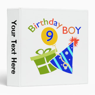 Boys 9th Birthday 3 Ring Binder