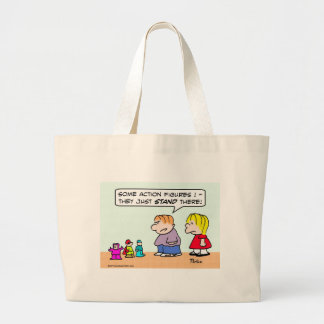 Boy's action figures just stand there. large tote bag