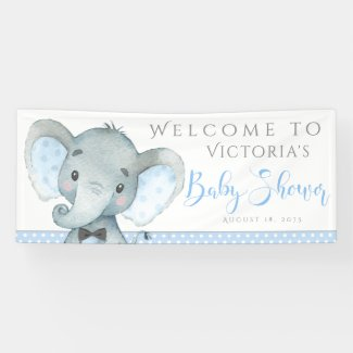 Boys Adorable Elephant Baby Shower Banners