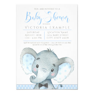2e0aaf28e223 Boys Adorable Elephant Baby Shower Invitations