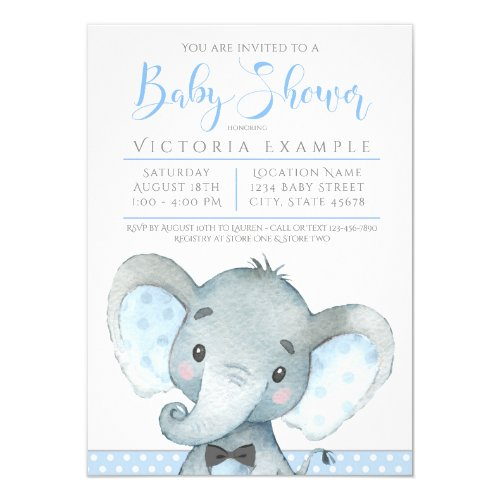 Boys Adorable Elephant Baby Shower Invitations