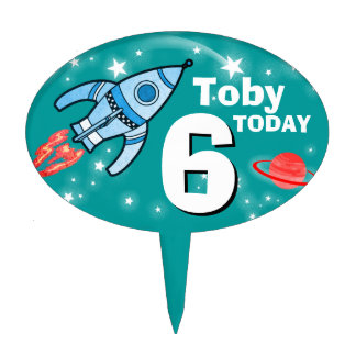 Boys age & named space teal birthday cake topper