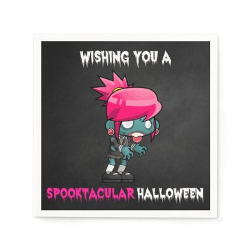 Halloween Themed Boys and Ghouls Boy Zombie Spooktacular Halloween Paper Napkin
