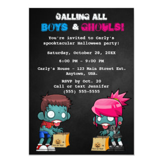 Boys and Ghouls Zombie Halloween Party Card