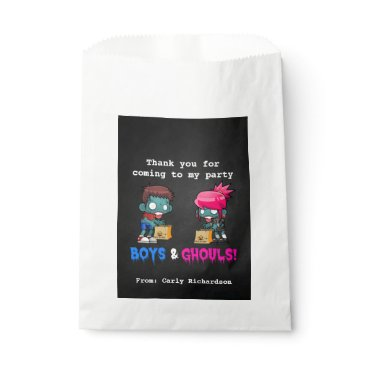 Boys and Ghouls Zombie Halloween Party Favor Bag