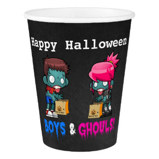 Boys and Ghouls Zombie Halloween Party Paper Cup