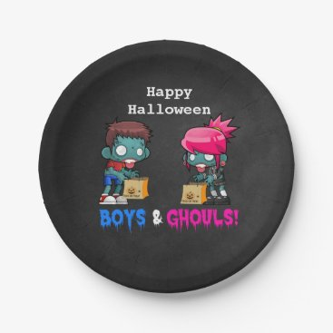 Halloween Themed Boys and Ghouls Zombie Halloween Party Paper Plate