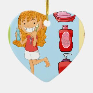 Boys and girl brushing teeth ceramic ornament