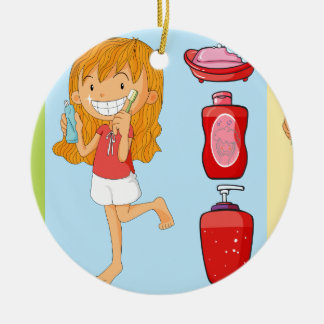 Boys and girl brushing teeth ceramic ornament