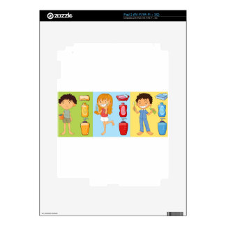 Boys and girl brushing teeth decals for the iPad 2