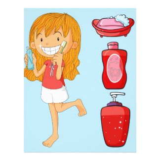Boys and girl brushing teeth letterhead