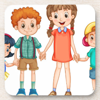 Boys and girls holding hands coaster