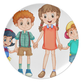 Boys and girls holding hands dinner plate