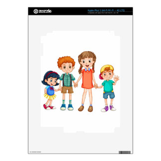 Boys and girls holding hands skins for iPad 3
