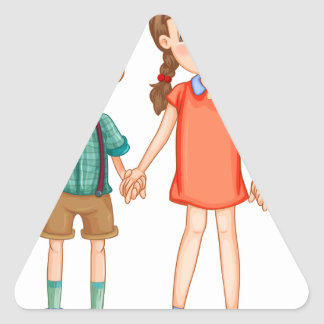 Boys and girls holding hands triangle sticker