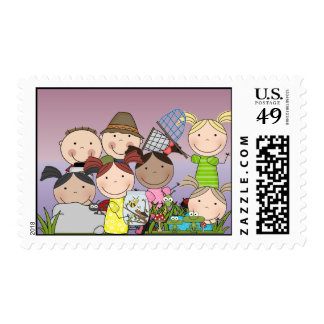 Boys and GirlsNature Hike postage stamps