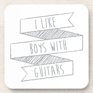 boys and guitars drink coaster