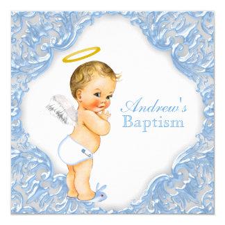 Boys Angel Christening Invitations Announcements Zazzle