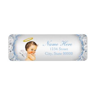 Boys Angel Baptism Christening Label