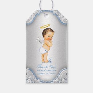 Boys Angel Baptism Thank You Gift Tags