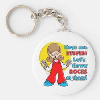 Boy's are Stupid ... Basic Round Button Keychain