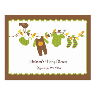 Boys Autumn Baby Shower Advice Postcard
