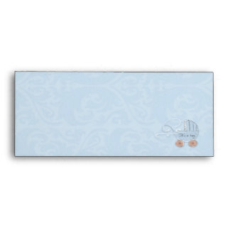 Boy's Baby Carriage Birth Announcement Envelopes