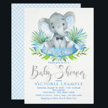 "Boys Baby Elephant Baby Shower Invitations<br><div class=""desc"">Boys elephant baby shower invitations with adorable baby elephant wearing an optional bow tie on a palm leaf background. These elephant baby shower invitations are easily customized for your event by simply adding your event details.</div>"