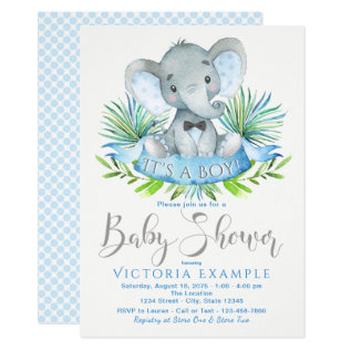 Boys Baby Elephant Baby Shower Invitations at Zazzle