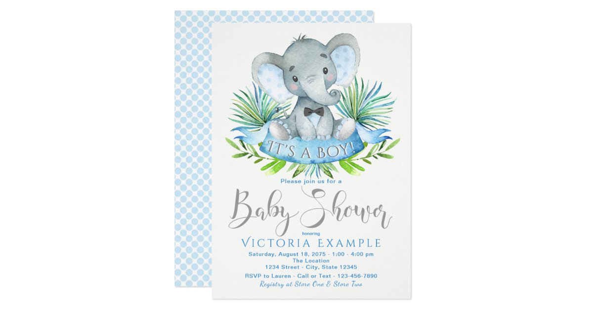 Boys Baby Elephant Baby Shower Invitations | Zazzle.com