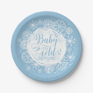 "Boys Baby It's Cold Outside 7"" Paper Plate"
